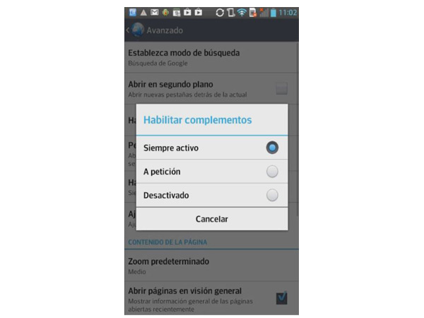 activar flash player android