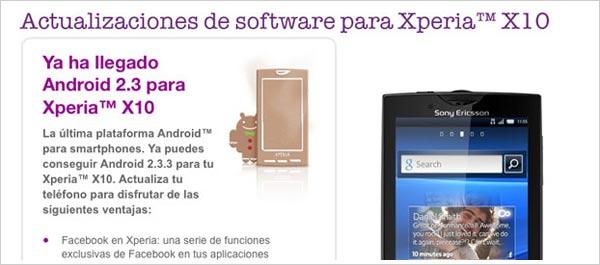 actualizaciones sony ericsson xperia x10
