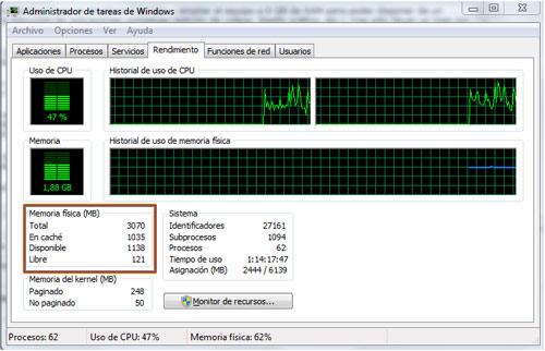 consumo ram windows 7