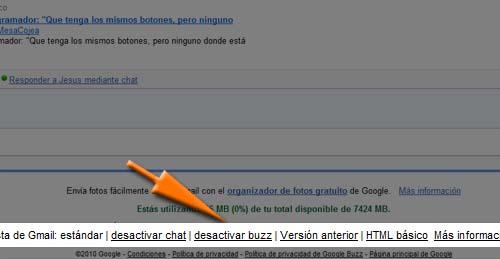 desactivar google buzz
