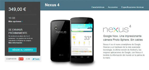 disponibilidad nexus 4 google play