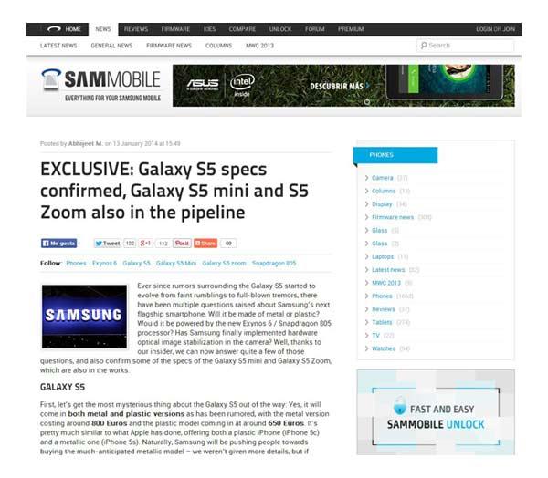 galaxy s5 especificaciones precio