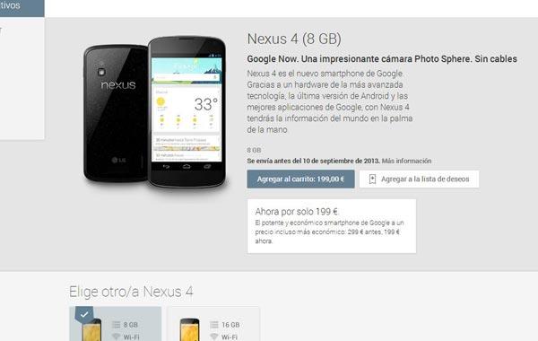 nexus 4 precio