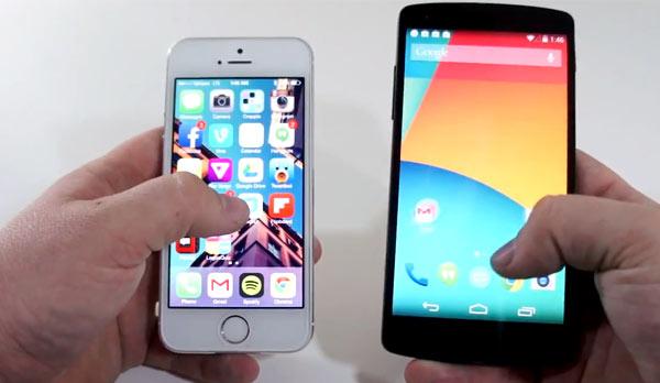 nexus 5 vs iphone 5s pantalla