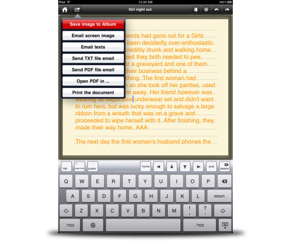 notepad ipad texto