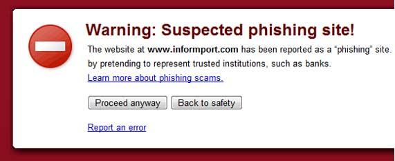 pagina phishing