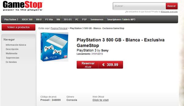 playstation 3 blanca gamestop