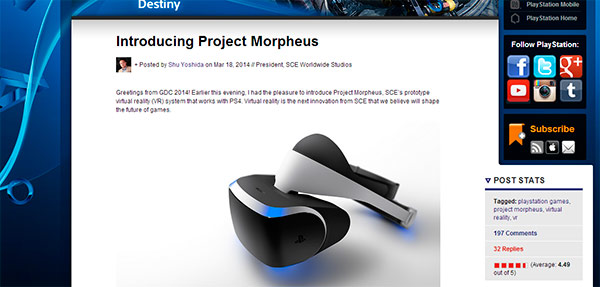 project morpheus sony ps4