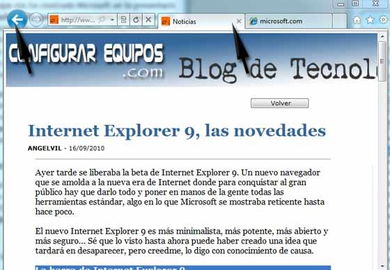 tabs internet explorer 9