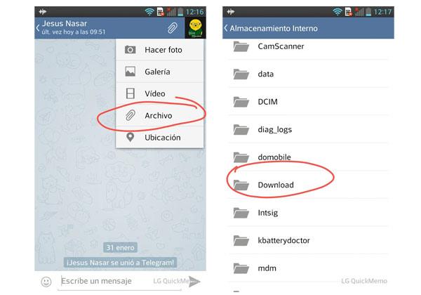 telegram enviar archivos