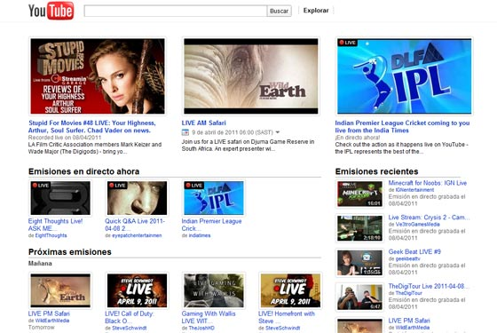 YouTube Live, programas y videos en directo desde YouTube