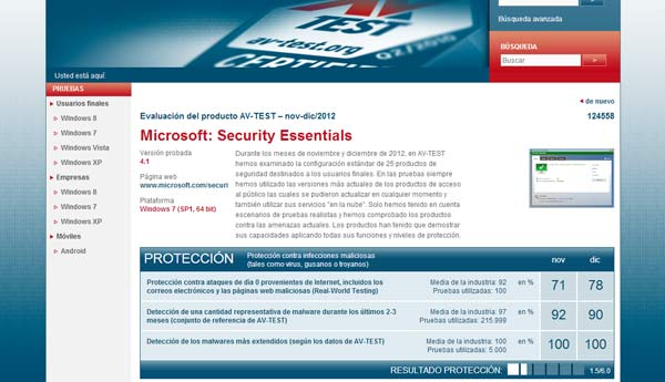 virus microsoft security essentials av test