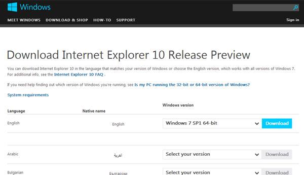 windows 7 internet explorer 10 preview