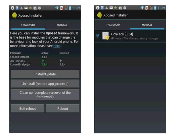 xposed framework permisos aplicaciones