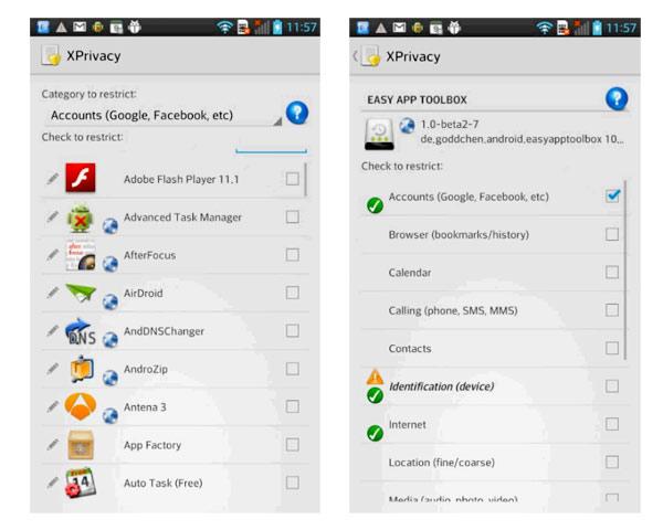 xprivacy permisos aplicaciones android