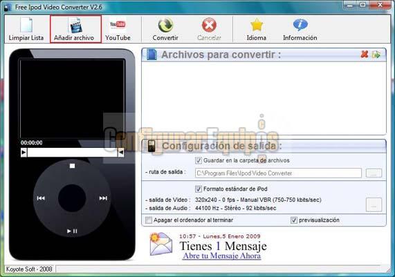 COMO PASAR UN VIDEO DE FORMATO FLV A FORMATO COMPATIBLE CON iPOD Koyote-ipod-01