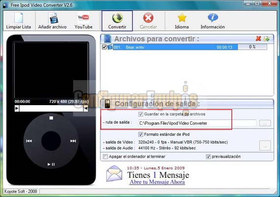 COMO PASAR UN VIDEO DE FORMATO FLV A FORMATO COMPATIBLE CON iPOD Koyote-ipod-03