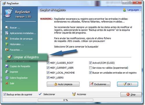 Limpiar el registro de sistema de Windows Limpiar-registro