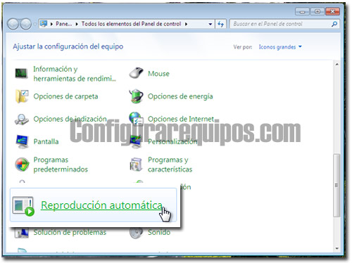 desactivar reproduccion automatica windows 7 1