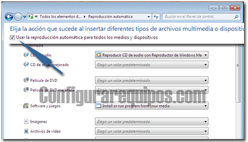 desactivar reproduccion automatica windows 7 3